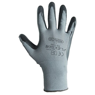 Ronco Flexsor™ Nitrile Palm Coated Nylon Gloves, Grey/Black, Large