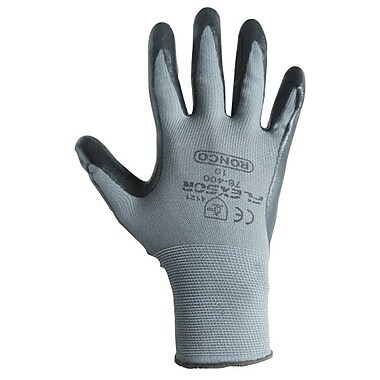 Ronco Flexsor™ Nitrile Palm Coated Nylon Gloves, Grey/Black, Small