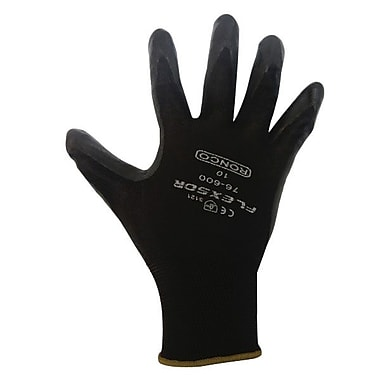 Ronco Flexsor™ Foam Nitrile Palm Coated Nylon Gloves, Black, Large