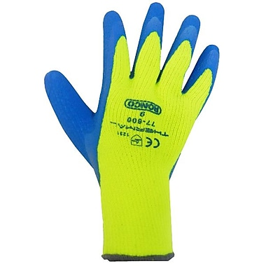 Ronco Thermal Latex Coated Cold Resistant Gloves, Yellow/Blue, Medium