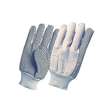 Ronco 8 oz. Cotton Canvas Knitwrist Gloves With PVC Dots, Natural, Mens