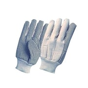 Ronco 8 oz. Cotton Canvas Knitwrist Gloves With PVC Dots, Natural, Mens