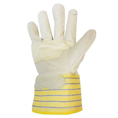 Ronco Grain Leather Patch Palm Gloves, Yellow/Blue, Size 1