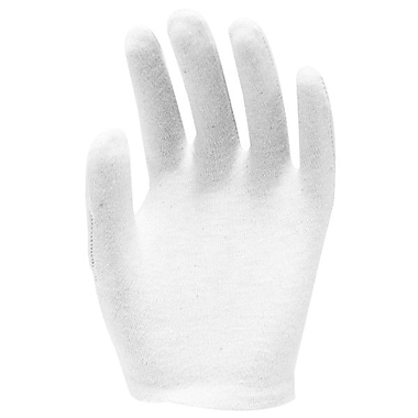 Ronco Light Weight Unhemmed Cotton Inspection Gloves, Bleached White, Ladies