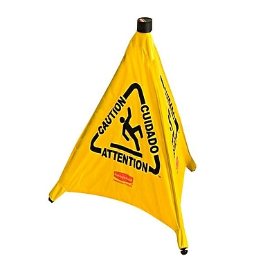 Rubbermaid® Pop-Up Polypropylene Safety Cone Caution Sign, Yellow