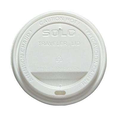 Solo® Traveller® Polystyrene Dome Hot Cup Lid, White