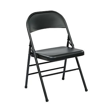 Office Star Metal Folding Chair (Set of 4); Black