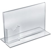 "Azar Displays Stand Up Acrylic Sign Holder with Brochure Holder, 8.5"" x 11, 10/Pack (252041)"