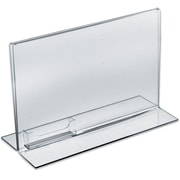 "Azar Displays Stand Up Acrylic Sign Holder with Business Card Holder, 8.5"" x 11, 10/Pack (252042)"