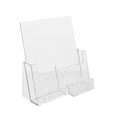 Arcylic Brochure Holders, Full Page Countertop with Business Card Attachment Kits