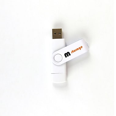 RetailPlus® On-To-Go USB 2.0 Flash Drive for Android Devices, 16GB, White