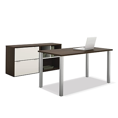 Bestar Contempo Executive Desk Kit, Tuxedo & Sandstone