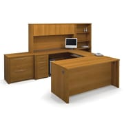 Bestar Embassy U-Shaped Workstation and Accessories Kit, Cappuccino Cherry