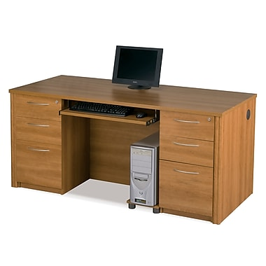 Bestar Embassy Executive Desk Kit with Fully Assembled Pedestals, Cappuccino Cherry