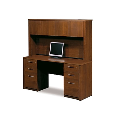 Bestar Embassy Credenza and Hutch Kit with Fully Assembled Pedestals, Tuscany Brown