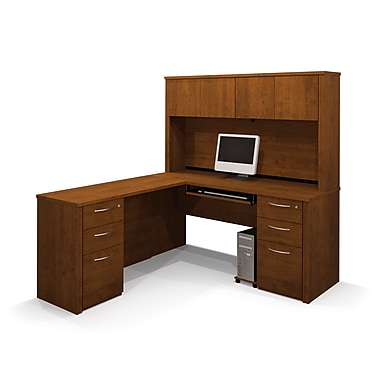 Bestar Embassy L-Shaped Workstation Kit with Two Fully Assembled Pedestals, Tuscany Brown