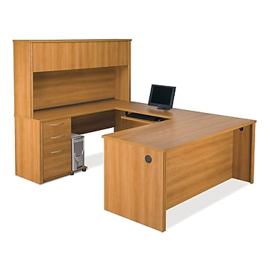 Bestar Embassy U-Shaped Workstation Kit with Fully Assembled Pedestal, Cappuccino Cherry