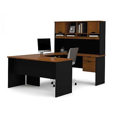 Bestar Innova U-Shaped Workstation Kit, Tuscany Brown & Black