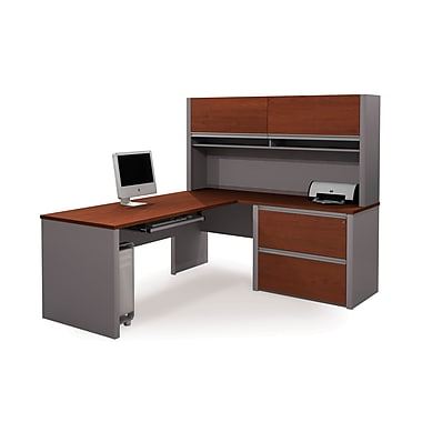 Bestar Connexion L-Shaped Workstation Kit with Assembled Oversized Pedestal, Bordeaux/Slate