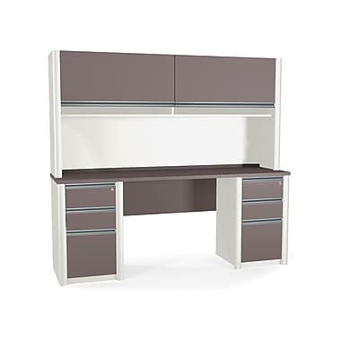 Bestar Connexion Credenza and Hutch Kit including Fully Assembled Pedestals, Slate/Sandstone