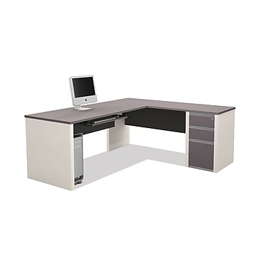 Bestar Connexion L-Shaped Workstation Kit with Fully Assembled Pedestal, Slate/Sandstone