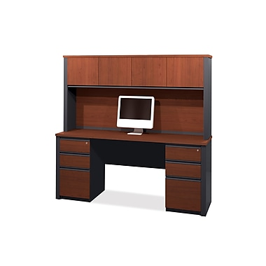 Bestar Prestige + Credenza and Hutch Kit with Fully Assembled Pedestals, Bordeaux/Graphite