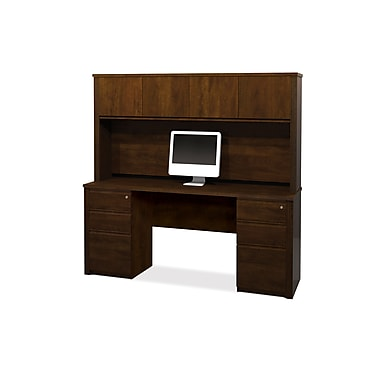 Bestar Prestige + Credenza and Hutch Kit with Fully Assembled Pedestals, Chocolate