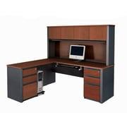 Bestar Prestige + L-Shaped Workstation Kit with Fully Assembled Pedestals, Bordeaux/Graphite