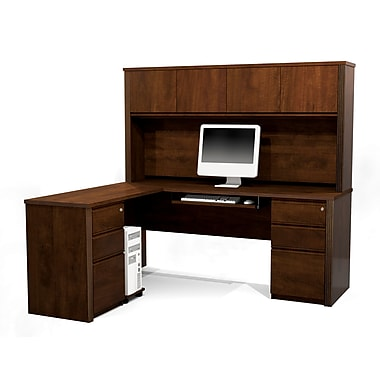 Bestar Prestige + L-Shaped Workstation Kit with Fully Assembled Pedestals, Chocolate