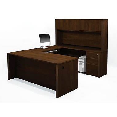 Bestar Prestige + U-Shaped Workstation Kit with Fully Assembled Pedestals, Chocolate