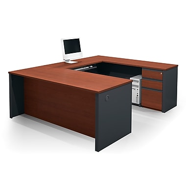 Bestar Prestige + U-Shaped Workstation Kit with Fully Assembled Pedestal, Bordeaux/Graphite