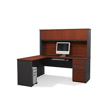 Bestar Prestige + L-Shaped Workstation Kit with Hutch and Assembled Pedestal, Bordeaux/Graphite