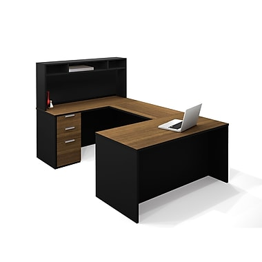 Bestar Pro-Concept U-Shaped Workstation with Small Hutch, Milk Chocolate Bamboo/Black