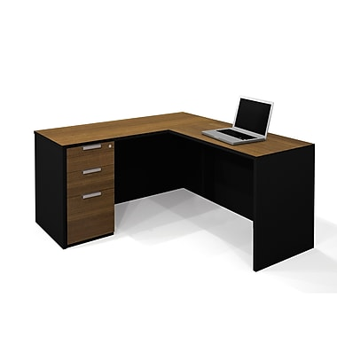 Bestar Pro-Concept L-Shaped Workstation with Assembled Pedestal, Milk Chocolate Bamboo/Black