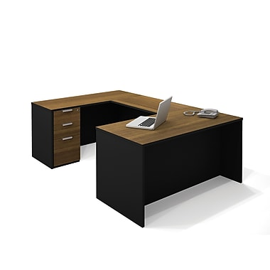 Bestar Pro-Concept U-Shaped Workstation with Assembled Pedestal, Milk Chocolate Bamboo/Black