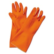 Boardwalk® Flock Lined Latex Cleaning Gloves, Orange, Medium