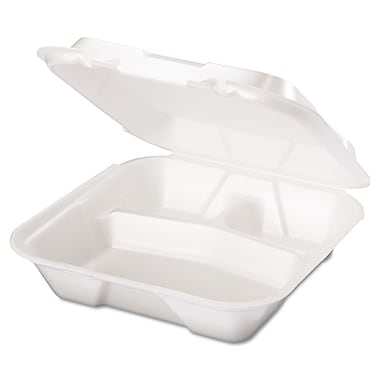 Genpak® SN203 Foam Hinged Dinner Container, White, 200/Case