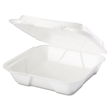 Genpak® SN200 Foam Hinged Dinner Container, White, 200/Case