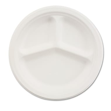 Chinet® Classic Round Paper Plate, 3 Comp, 10 1/4in.(Dia), White, 500/Carton