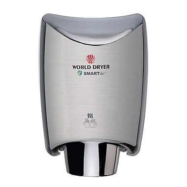 World Dryer® SMARTdri™ 110 - 120 V High-Efficiency Intelligent Hand Dryer, Brushed Stainless Steel