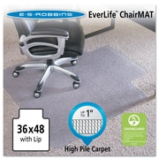 "ES Robbins® EverLife™ Chair Mats for High to Extra-High Pile Carpet, 36"" X 48"", Carpets, Clear (124054)"