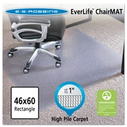 "ES Robbins® EverLife™ Chair Mats for High to Extra-High Pile Carpet, 46"" X 60"", Carpets, Clear (124377)"