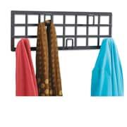 "Safco® Grid Coat Rack, 5 Hooks, Steel, 21 1/2"" x 2 1/4"" x 6 3/4"", Black (4663BL)"