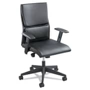 Safco® Tuvi™ Mid Back Chair, Bonded Leather, T-Pad Arms, Black (5071BL)