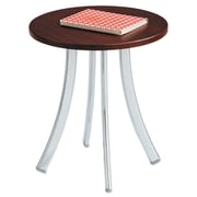 "Safco®, Decori Wood Side Table, Round, 15-3/4"" Dia., 18-1/2"" High, Mahogany/Silver (5098MH)"
