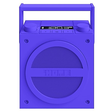 iHome® iBT4 Bluetooth Wireless Rechargeable Boombox With FM Radio, Purple