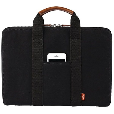 Toffee® 13in. Bleecker Brief Leather Carrying Case, Black