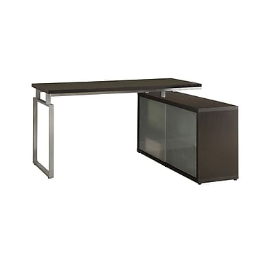 Monarch Hollow-Core L-Shaped Desk With Frosted Glass, Cappuccino