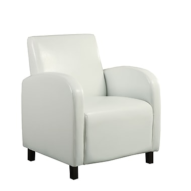 Monarch Leather Look Accent Chair, White