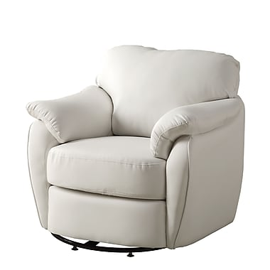 Monarch Look Swivel Accent Chair PU, Wood, Foam Accent Chair White